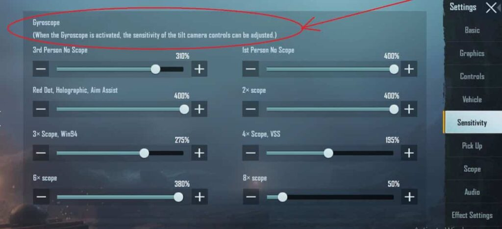 Gyroscope sensitivity setting for a pro player of PUBG mobile