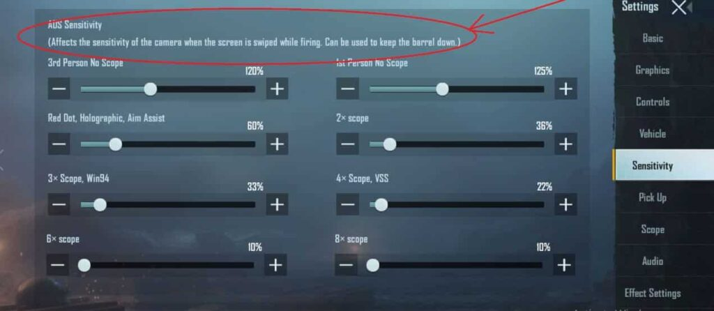 ADS sensitivity setting for a pro player of PUBG mobile