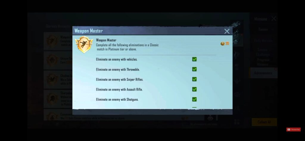6 missions to unlock weapon master title.