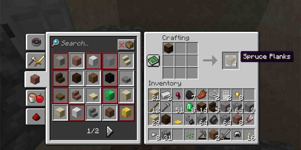 The logs should be converted into planks. It's your second step. Photo of crafting planks from wood logs.