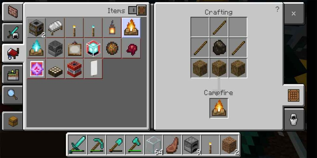 The photo of making campfire in the Minecraft. To craft a campfire coal is necessary.