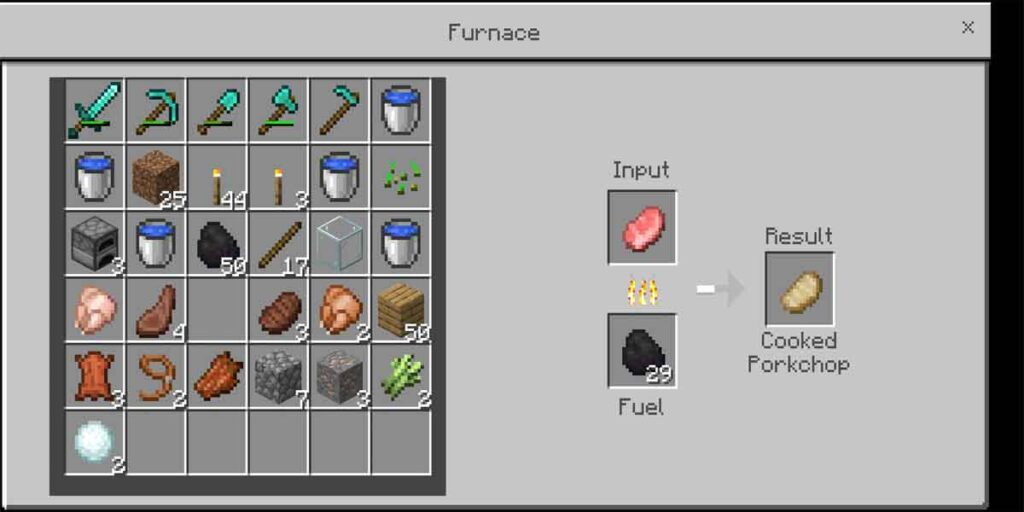 The coal is used for cooking purpose. The cooked food heals 2X than raw meat. So, this the picture showing the procedure to cook food by using coal in Minecraft.