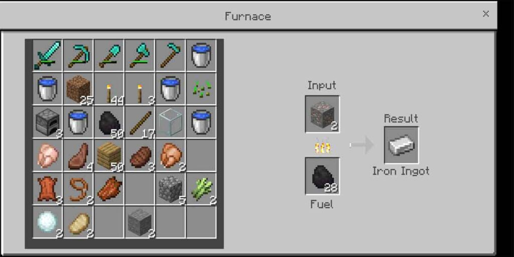 The photo is about the procedure to smelt a item to make a iron ingot in the Minecraft.