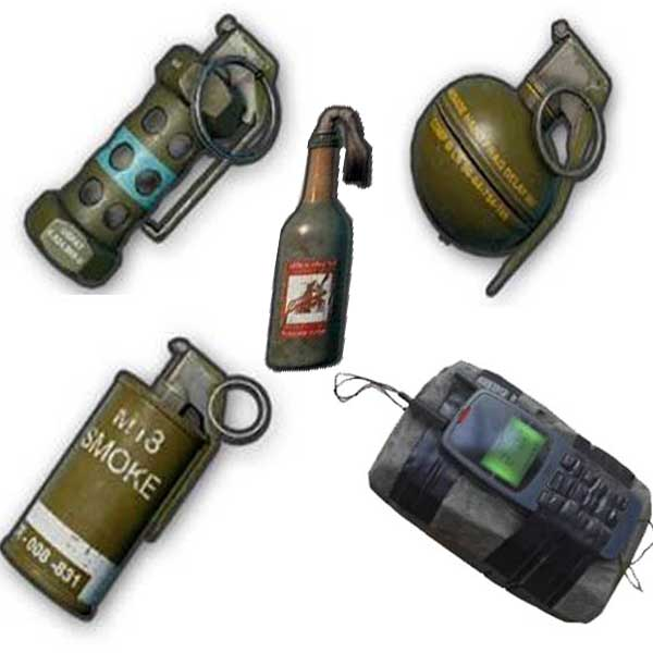 Photo of all Throwable weapons in pubg mobile.