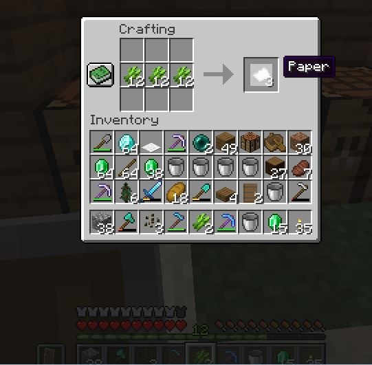 You can make a paper by using sugarcane in Minecraft. In this picture you can see how you can make a Paper.