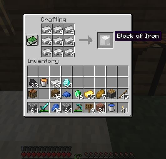 How to make a block of iron in Minecraft? Iron blocks is required to make a body of golem.