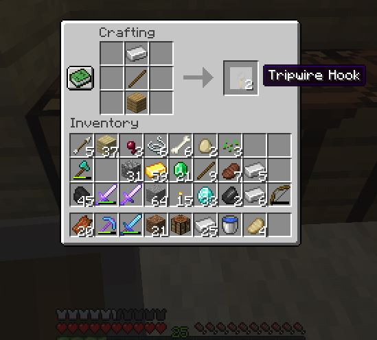How to make a tripwire in the Minecraft? Tripwire is used for crafting the crossbow in the game.