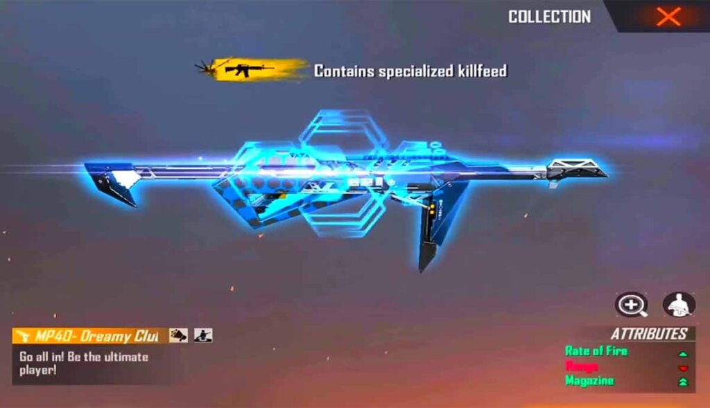 Dreaming Club(blue) MP40 in Free fire