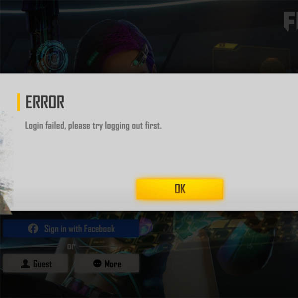 How to ID error in Free free? Fix ID failed try logging out first.