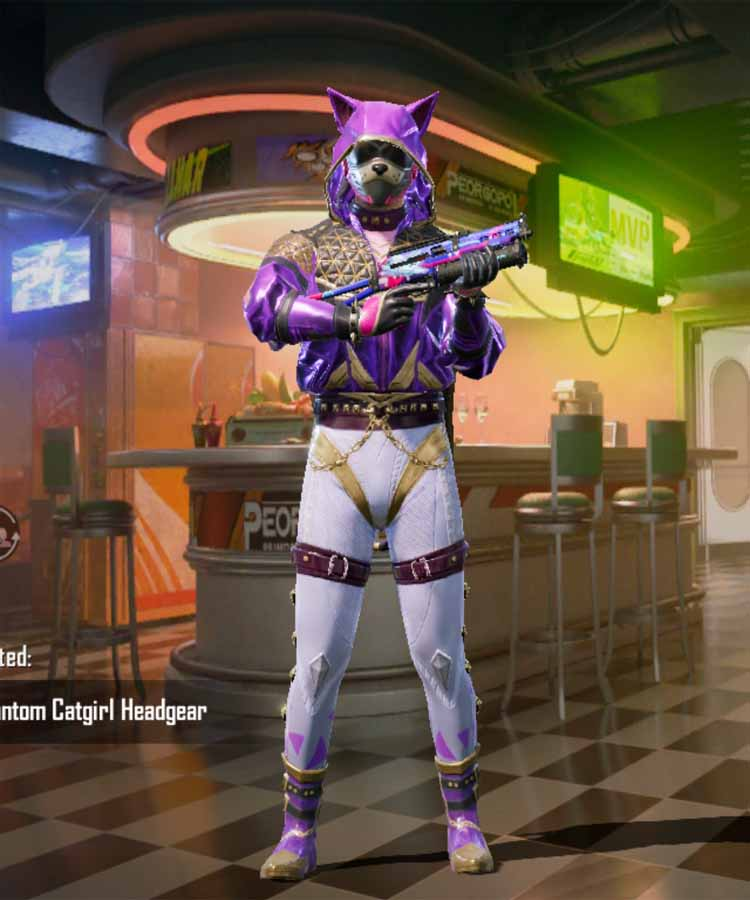 Phantom cat girl outfit in Pubg mobile: RP rank 100 outfit season 12