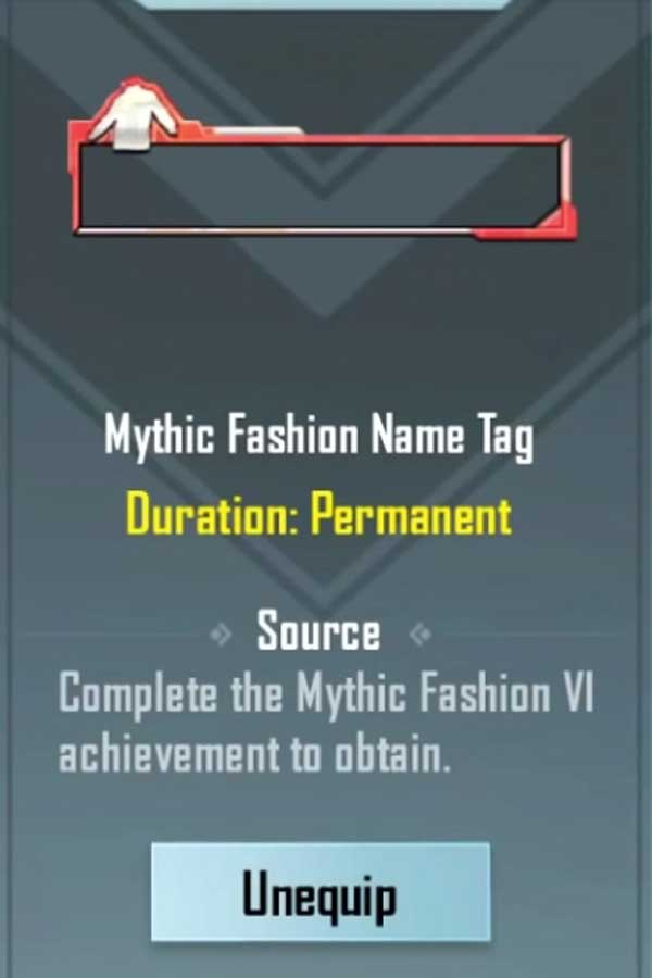 Mythic fashion name tag in Pubg mobile