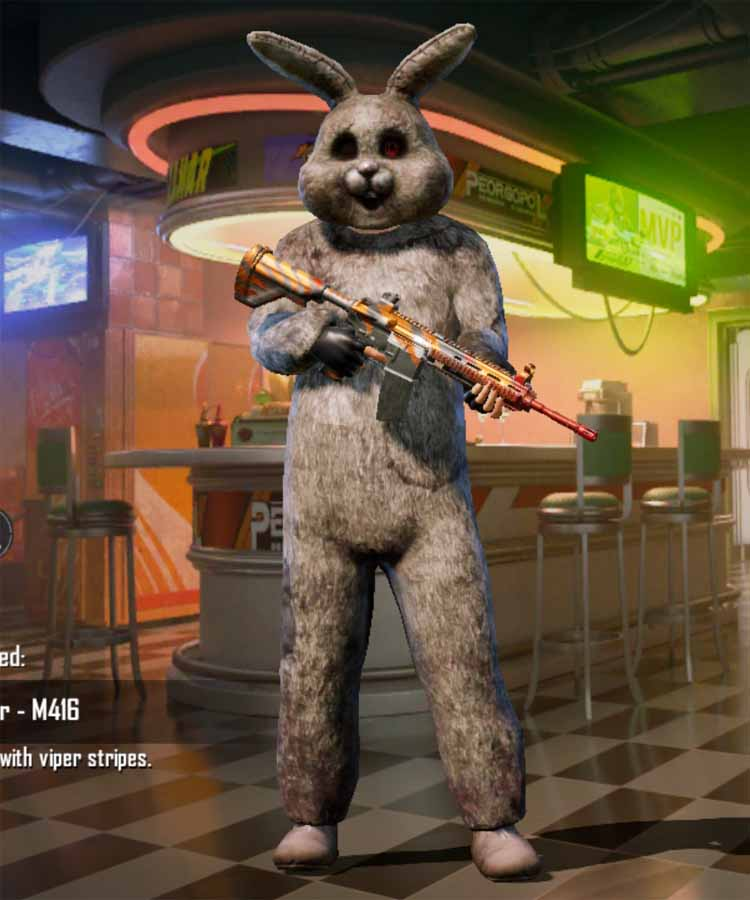 Season 2 100 RP-rank outfit in Pubg mobile: royale Bunny suit and mask
