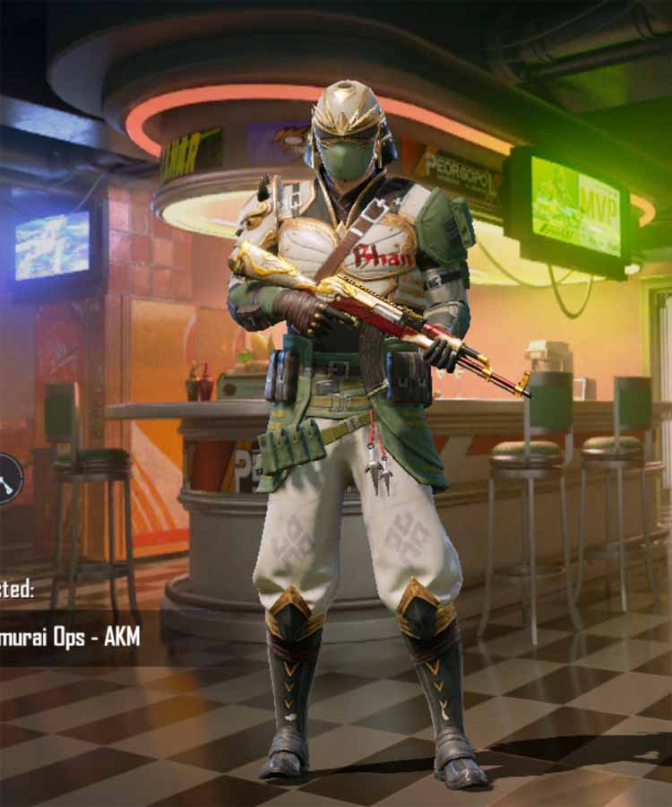 Samurai OPS character outfit: Pubg mobile 100 RP-rank mythic outfit in Season 15